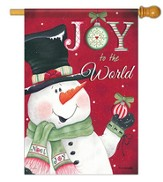Joy to the World Snowman Flag, Large Size