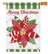 Merry Christmas Poinsettia Quilt, Large Flag