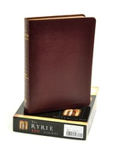 ESV Ryrie Study Bible, Burgundy Genuine Leather - Imperfectly Imprinted Bibles