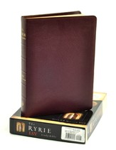 ESV Ryrie Study Bible, Burgundy Genuine Leather, Thumb-Indexed  - Imperfectly Imprinted Bibles