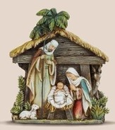 Nativity Holy Family with Stable Figurine