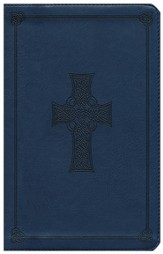 ESV Classic Thinline Bible, TruTone Royal blue with Celtic cross design, Imitation Leather - Imperfectly Imprinted Bibles