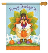 Happy Thanksgiving Turkey Flag, Large