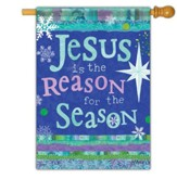 Jesus is the Reason for the Season Glitter Flag, Large