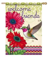 Welcome Friends, Hummingbird Glory Flag, Large