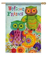 Welcome Friends, Friendly Owl Flag, Large