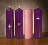 Star of Bethlehem Advent Pillar Candle Set/ 3 purple, 1 pink (3 x 12)