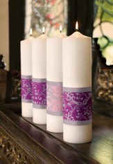 Emmanuel Advent Pillar Candle Set/ 3 purple, 1 pink  (3 x 12)