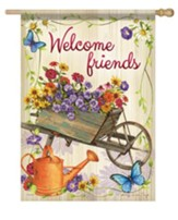 Welcome Friends Flag Wheelbarrow L