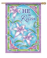 He is Risen Stained Glass Design Flag L