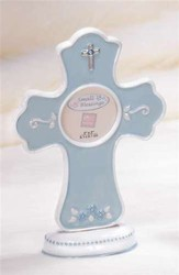 Baptism Frame with Cross, Blue