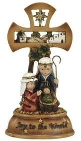 Musical Holy Family Cross with Child Pageant Figures