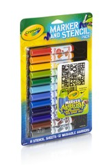 Crayola, Airbrush Markers and Stencil Pack, Classic