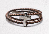 Men's Silver Eternity Cross, Braided Leather Bracelet