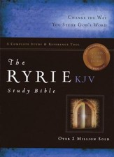 KJV Ryrie Study Bible Burgundy Genuine Leather Red Letter Thumb-Indexed