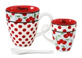 Mommy and Me Mug Set, Red and White