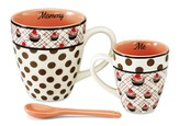 Mommy and Me Mug Set, Orange and White