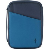 Thinline Bible Cover with Cross, Blue and Navy