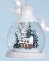 LED Church Scene Under Glass Ornament
