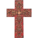 Filigree Wall Cross, Burgundy and Brown