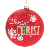 Christmas Is For Christ Ornament, Red with Snowflakes