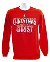 Christmas Begins With Christ, Long Sleeve Tee Shirt, Red, Large - Slightly Imperfect
