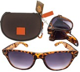 Sunglasses in Case with Cross, Brown