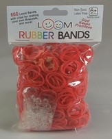 Loom Rubber Bands, 600 Pieces, Red