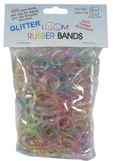 Glitter Loom Bands, 600 Pieces