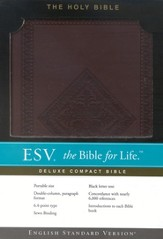 ESV Compact Bible--soft leather-look, chestnut with  diamond design