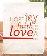 Hope, Joy, Faith, Love Peace Gift Bag, Large
