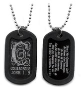 Courageous, Joshua 1:9 Monogram Dog Tag, Black