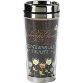 A Cheerful Heart Has A Continual Feast Travel Mug