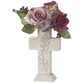 Cross Vase with Rose