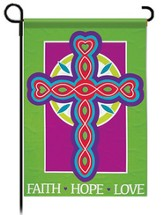 Faith Hope Love Cross Flag, Garden Size