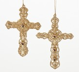 Gold Cross Ornament, Set of 2