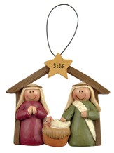 Manger with Star, John 3:16 Ornament