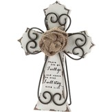 Where You Go, I Will Go, Burlap Rose Tabletop Cross