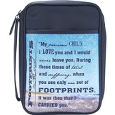 Footprints Bible Cover, Blue, Large