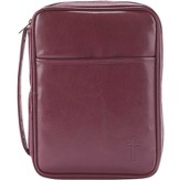 Leather Bible Cover, with Cross, Burgundy, X-Large