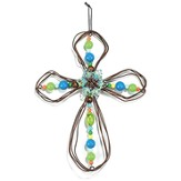 Teal Flower Wire Hanging Cross