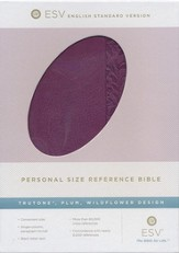 ESV Personal Size Reference Bible, TruTone, Plum, Wildflower Design - Imperfectly Imprinted Bibles