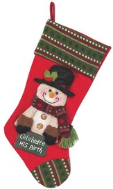 Celebrate His Birth, Snowman Christmas Stocking