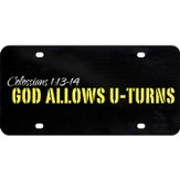 God Allows U Turns License Plate