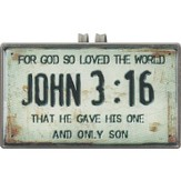 John 3:16, License Plate Scripture Visor Clip