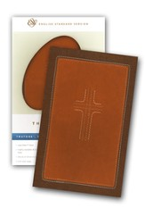 ESV Thinline Bible,TruTone, Cordovan / Saddle, CrossStitch Design