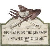 His Eye Is On the Sparrow Plaque