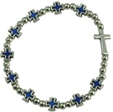 Rosary Cross Bracelet, Blue