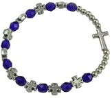 Rosary Cross Bracelet, Blue Beads