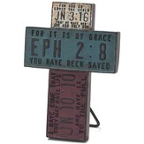 License Plate Scripture Tabletop Cross